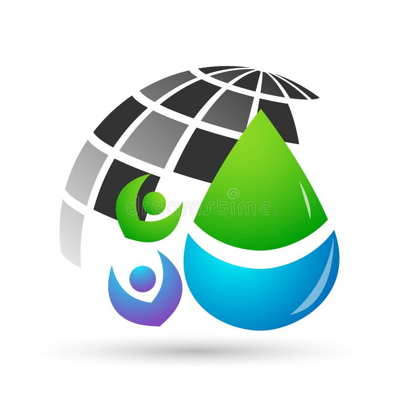 Water drop save water globe people life care logo concept of water drop wellness symbol icon nature drops elements vector design. Water drop save globe  health royalty free illustration