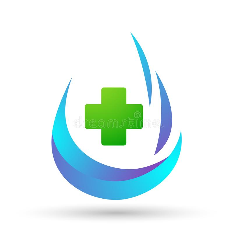 Water drop save water globe people life care logo concept of water drop wellness symbol icon nature drops elements vector design. Water drop save globe medical stock illustration