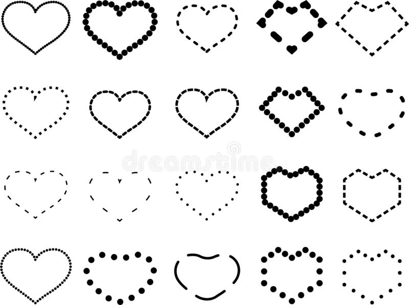 `Vector heart icon set in dash style,Dashed vector love symbol,Design elements for love theme Isolated from the white background.`. `Vector heart icon set in royalty free illustration