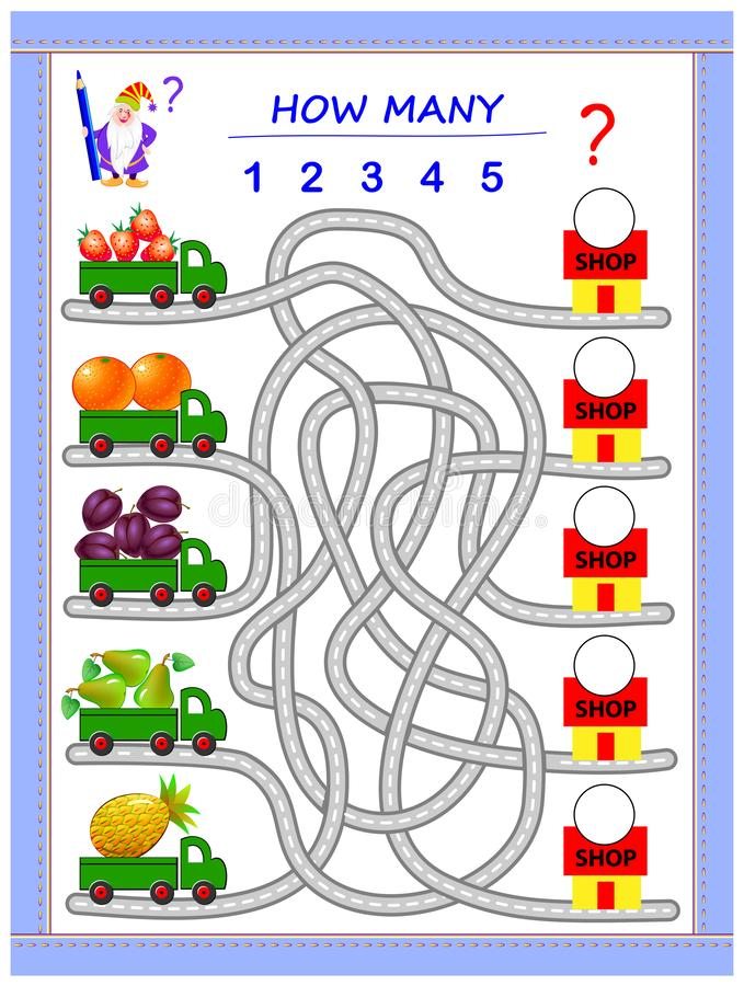 Logic puzzle game for little children. Where do the lorries have to deliver fruits? Count the quantity and write the numbers. vector illustration