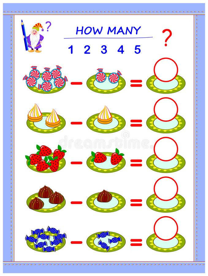 Educational page for children on subtraction. Solve examples, count the quantity of sweets and write numbers in circles. Printable mathematical worksheet for vector illustration