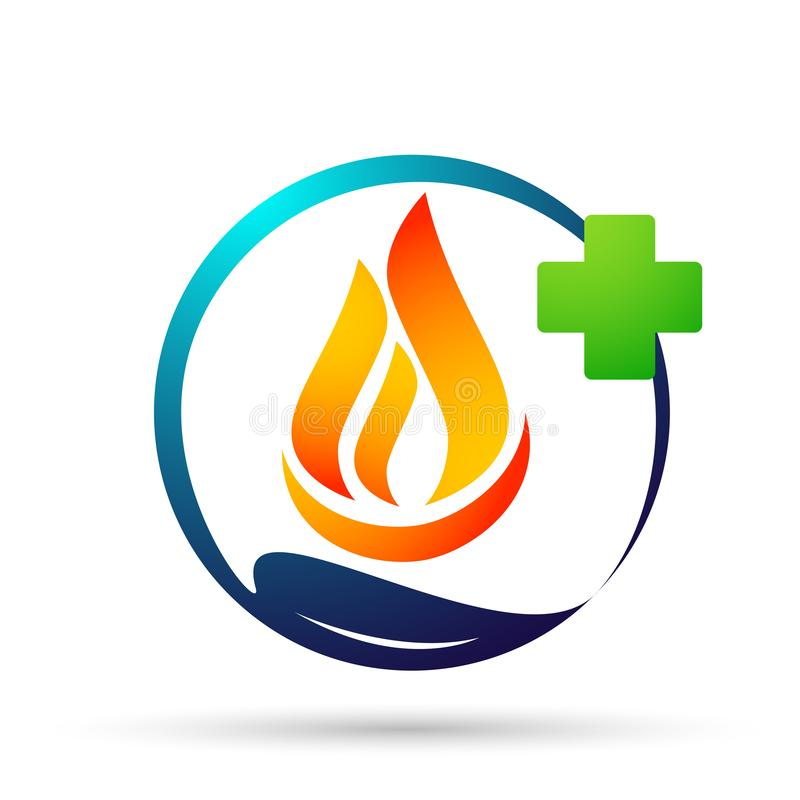Globe world fire Flame people medical care energy logo symbol icon nature drops elements vector design on white background. Globe world fire Flame people care stock illustration
