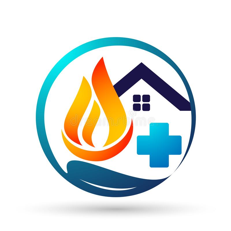 Globe world fire Flame people home medical care energy logo symbol icon nature drops elements vector design on white background. Globe world fire Flame people vector illustration