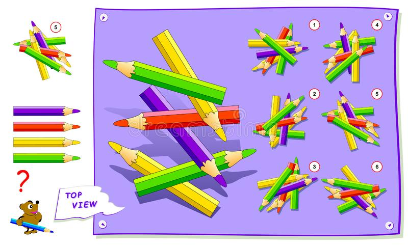 Logic puzzle game for kids. Need to find correct top view of pencils. Worksheet for school textbook. Printable page for brainteaser book. Development of royalty free illustration