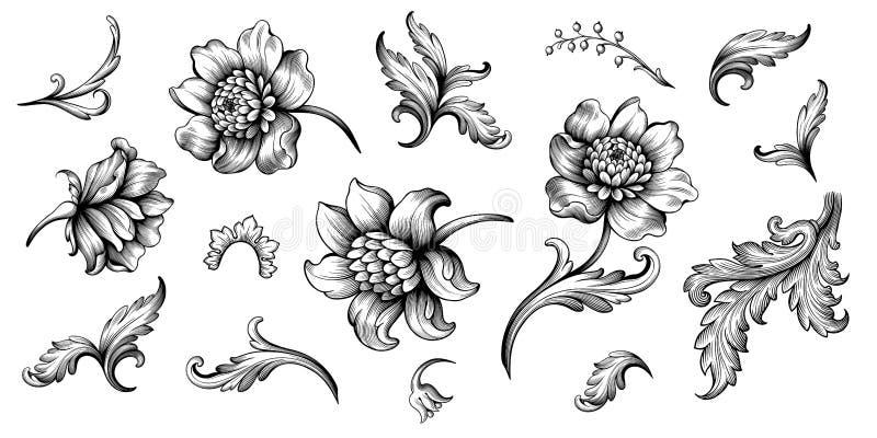 Basic RGBFlower vintage Baroque scroll Victorian frame border floral ornament engraved retro pattern rose peony tattoo filigree ve. Flower vintage scroll Baroque vector illustration