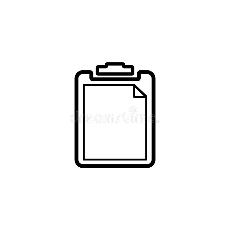 Black and white clipboard  icon. Clipboard  icon in black and white version. It can be a paste icon and task icon. Available in eps 10 stock illustration