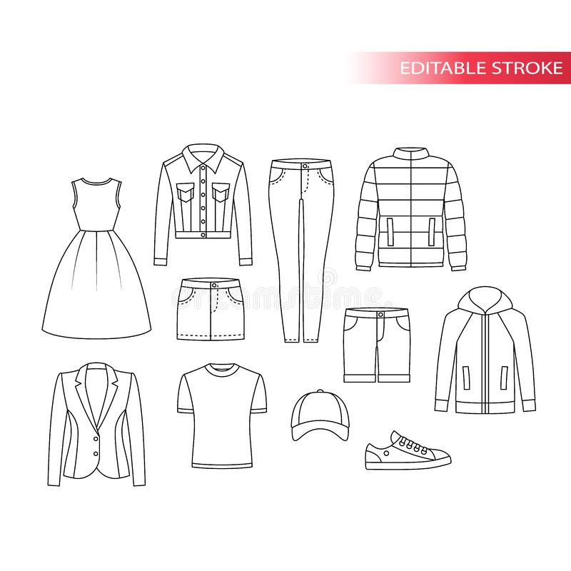 Clothing types thin line vector drawing set. vector illustration
