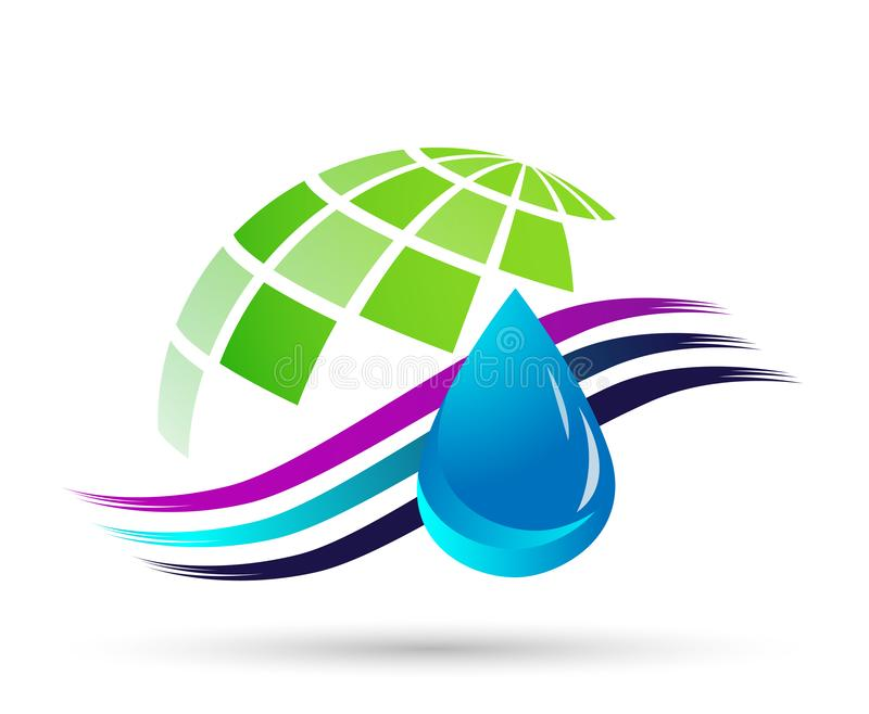 Water drop save water globe people life care logo concept of water drop wellness symbol icon nature drops elements vector design. Globe world Water drop save vector illustration