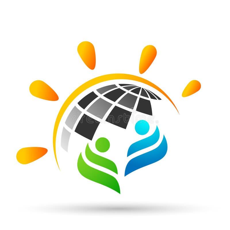Globe world sun people family team work logo icon vector element on white background royalty free illustration