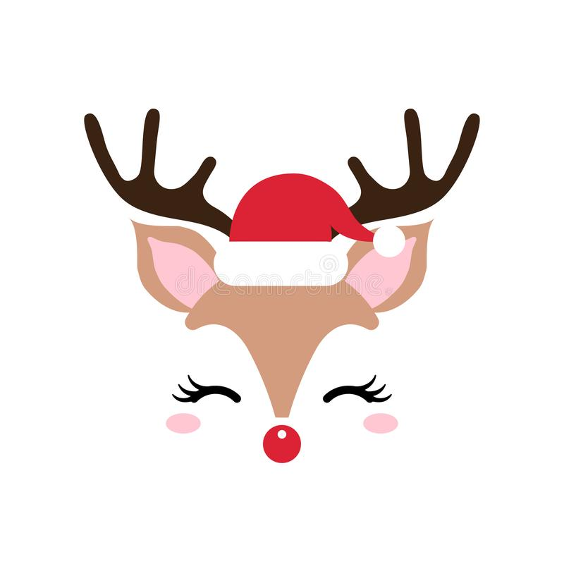 Cute Christmas red nose reindeer face vector. Funny cartoon deer with with santa hat decoration. vector illustration