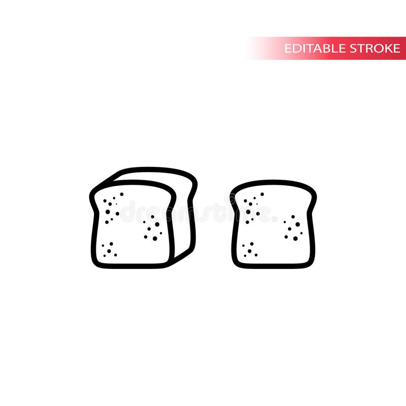Bread, loaf and sliced toast bread thin line icon set. Slice of bread outline vector symbol set stock illustration