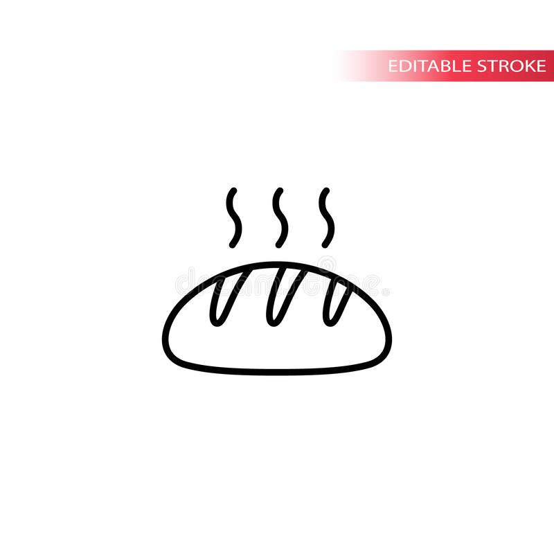 Bread loaf hot with steam vector thin line icon. Bread with vapor lines outline symbol. stock illustration