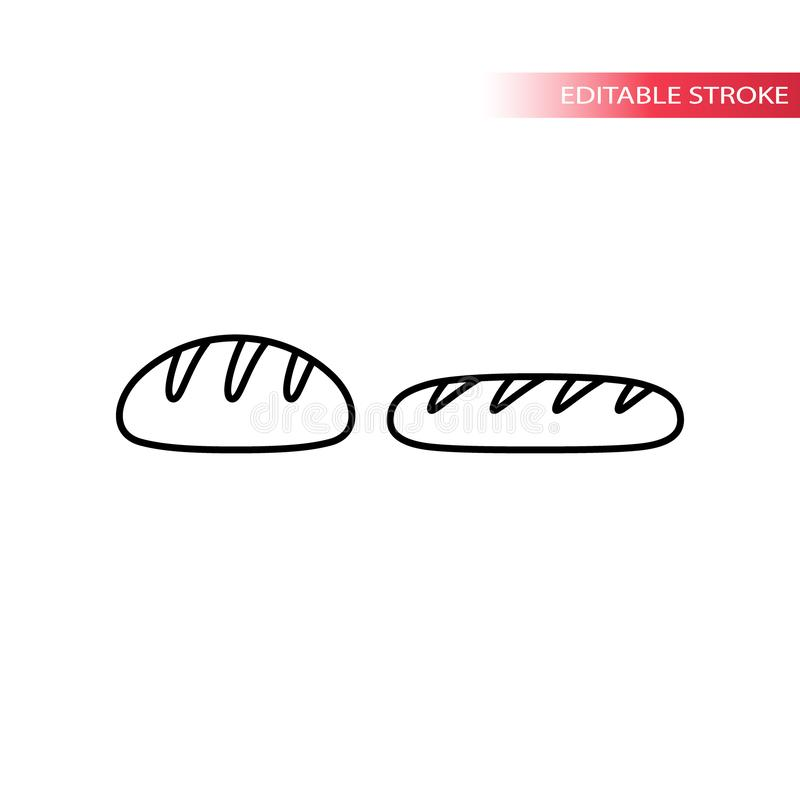 Bread loaf and french bread baguette thin line icon set. royalty free illustration