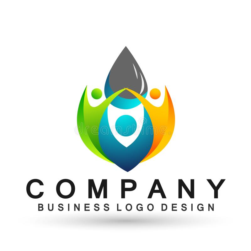 Water drop save water globe people life care logo concept of water drop wellness symbol icon nature drops elements vector design. Globe world Water water wave stock illustration