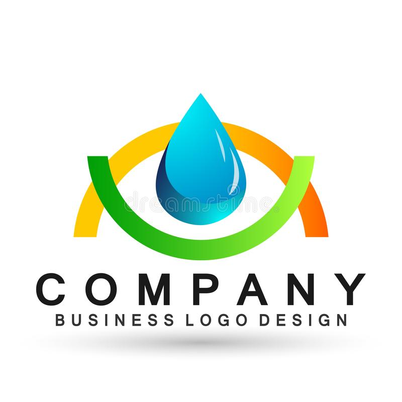Water drop save water globe people life care logo concept of water drop wellness symbol icon nature drops elements vector design. Globe world Water water wave royalty free illustration