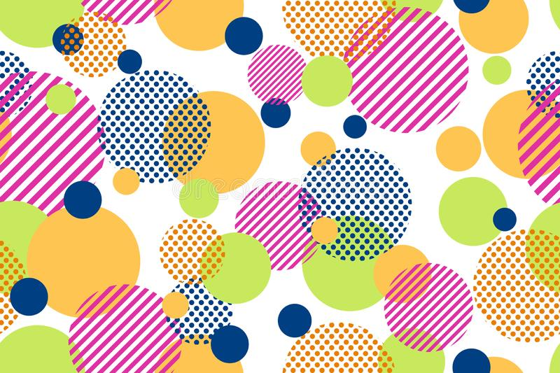 Seamless pattern of colorful dots and geometric circle modern on white background stock illustration
