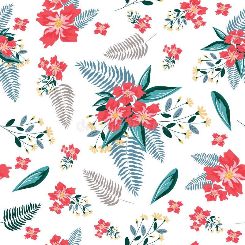 Red flower seamless pattern background vector illustration