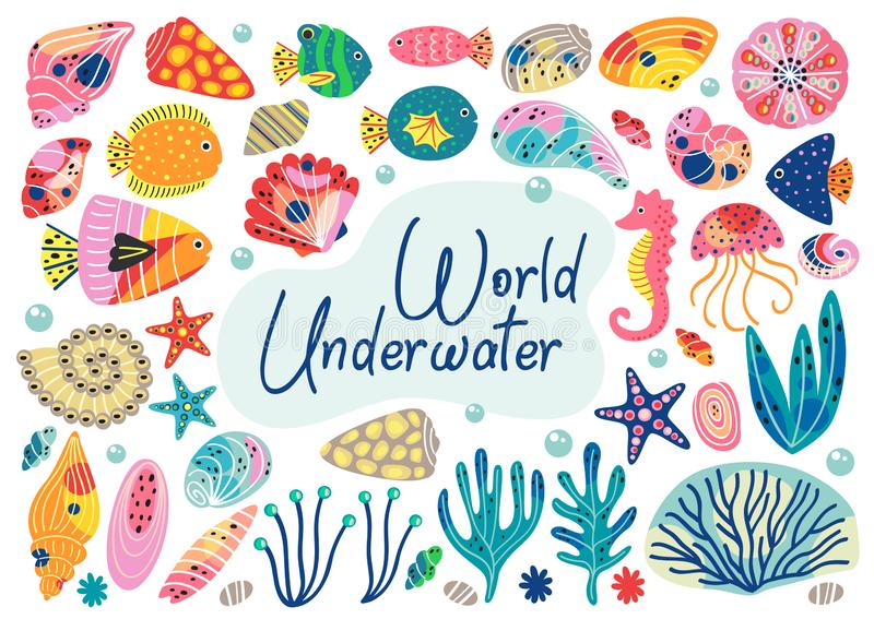 Set of isolated underwater elements vector illustration