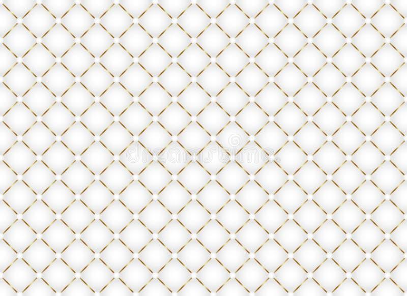Seamless Golden Geometric Squares Mesh Pattern in White Background vector illustration