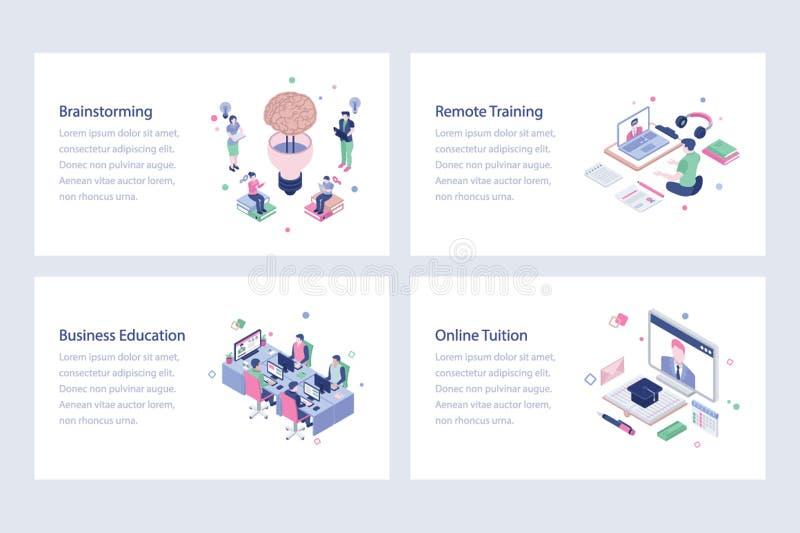 Online Learning Vector Illustrations Design stock illustration