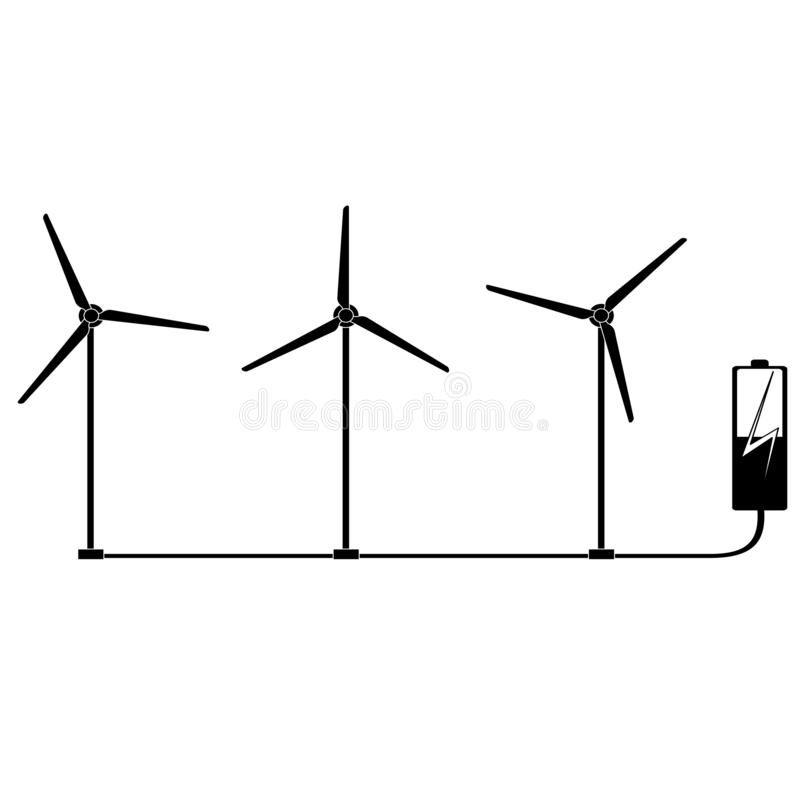A wind farm charges an electric battery. Wind generator. Wind generator generates electricity. A wind farm charges an electric battery. Wind generator royalty free stock photo