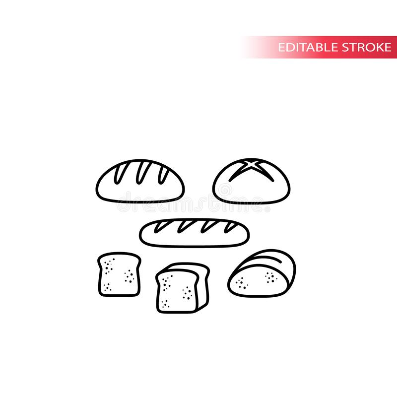 Bread types, french loaf, sliced toast thin line icon set. Bread set, slice of bread vector outline symbols stock illustration