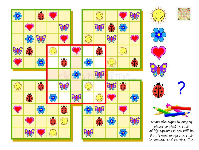 Logic Sudoku puzzle game for kids. Draw signs in empty places so that in each of big squares there will be 5 different images. royalty free illustration