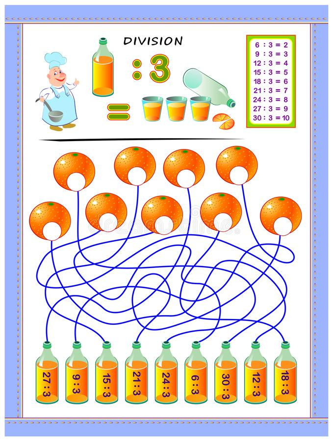 Exercises for kids with division table by number 3. Solve examples and write answers on oranges. Educational page for mathematics baby book. Printable vector illustration