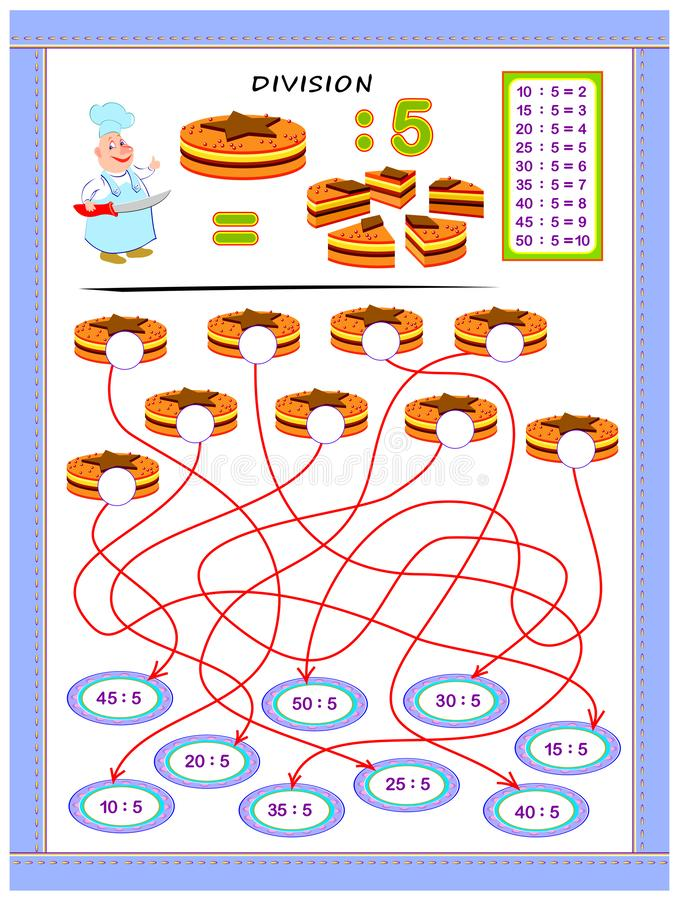 Exercises for kids with division table by number 5. Solve examples and write answers on cakes. Educational page for mathematics baby book. Printable worksheet stock illustration