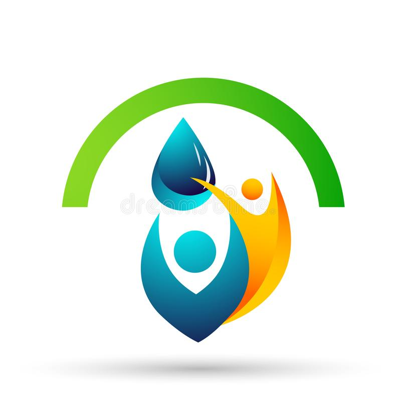 Water drop save water globe people life care logo concept of water drop wellness symbol icon nature drops elements vector design. Globe world Water water wave vector illustration