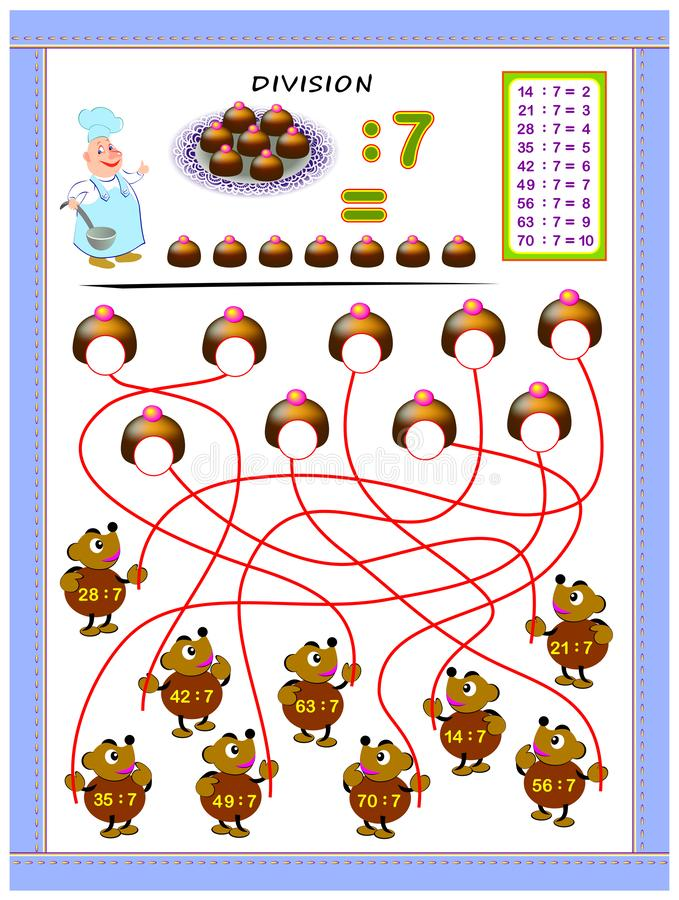 Exercises for kids with division table by number 7. Solve examples and write answers on candies. Educational page for mathematics baby book. Printable vector illustration