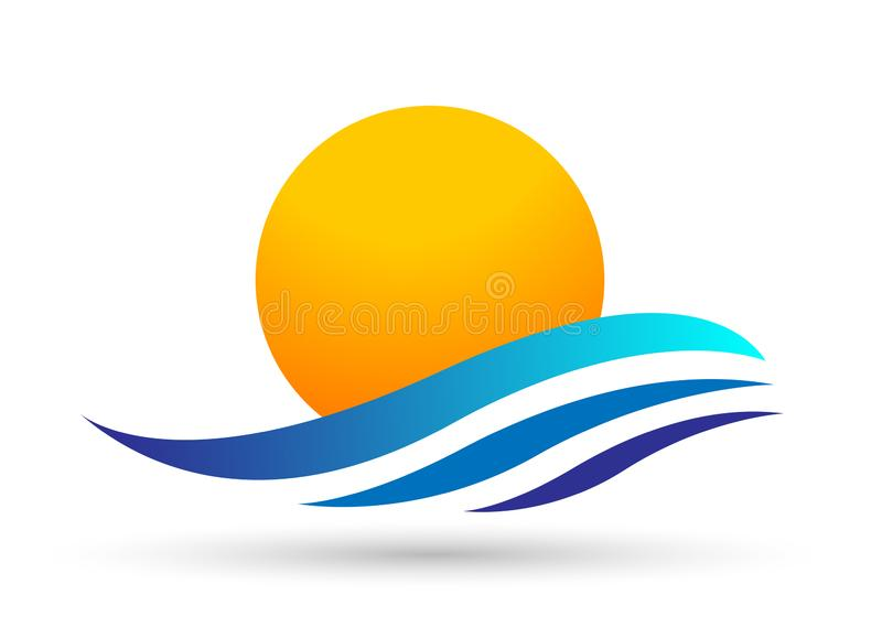 Globe world sun sea wave water wave icon Coast icon tourism holiday summer beach vector designs on white background royalty free illustration