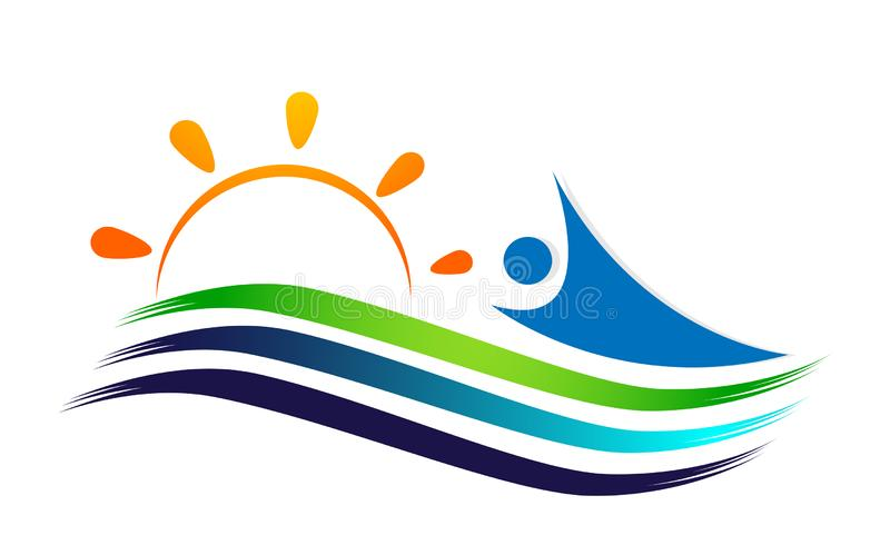 People sun sea wave water wave winning swimming logo team work celebration wellness icon vector designs on white background royalty free illustration