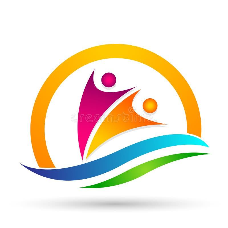 People sun sea wave water wave winning swimming logo team work celebration wellness icon vector designs on white background stock illustration