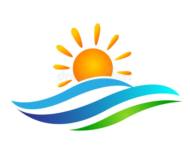 Globe world sun sea wave water wave icon Coast icon tourism holiday summer beach vector designs on white background stock illustration