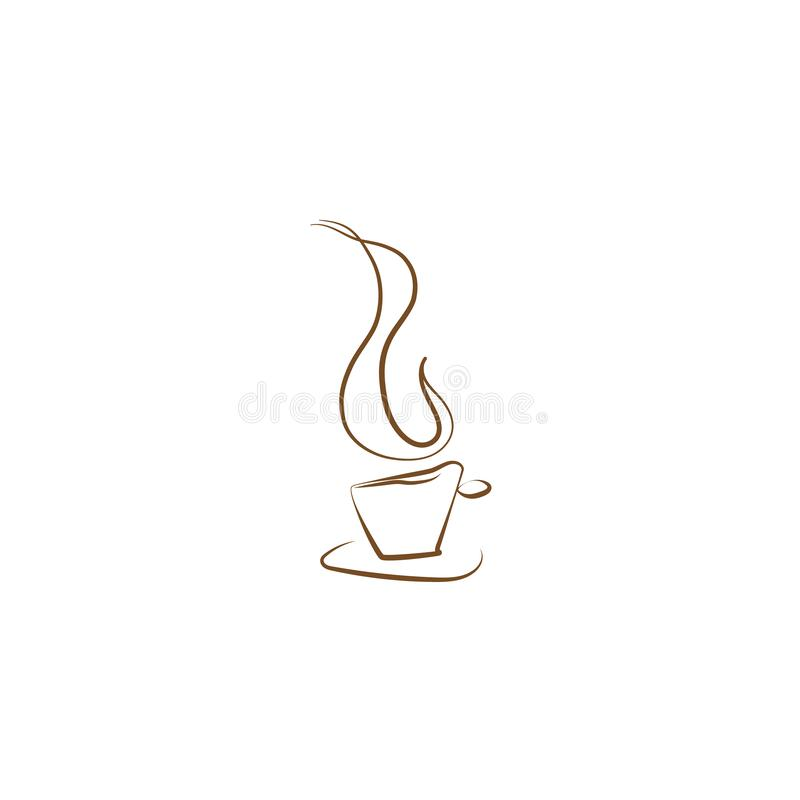 Hand drawn coffee cup vector with vapor or steam smoke. stock illustration