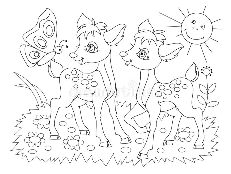 Black and white page for baby coloring book. Drawing of two cute fawns playing on the meadow. Printable template for kids. Worksheet for children and adults vector illustration