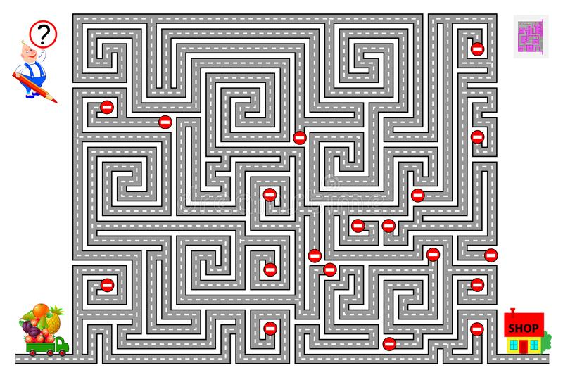 Logical puzzle game with labyrinth for children. Help the lorry find the way and deliver food to the shop respecting traffic signs. Printable worksheet for royalty free illustration