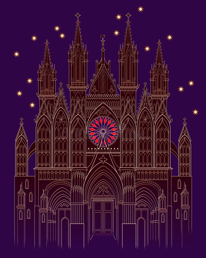 Illustration of a fantasy medieval Gothic castle at night time. Cover for kids fairy tale book. Poster for travel company. vector illustration