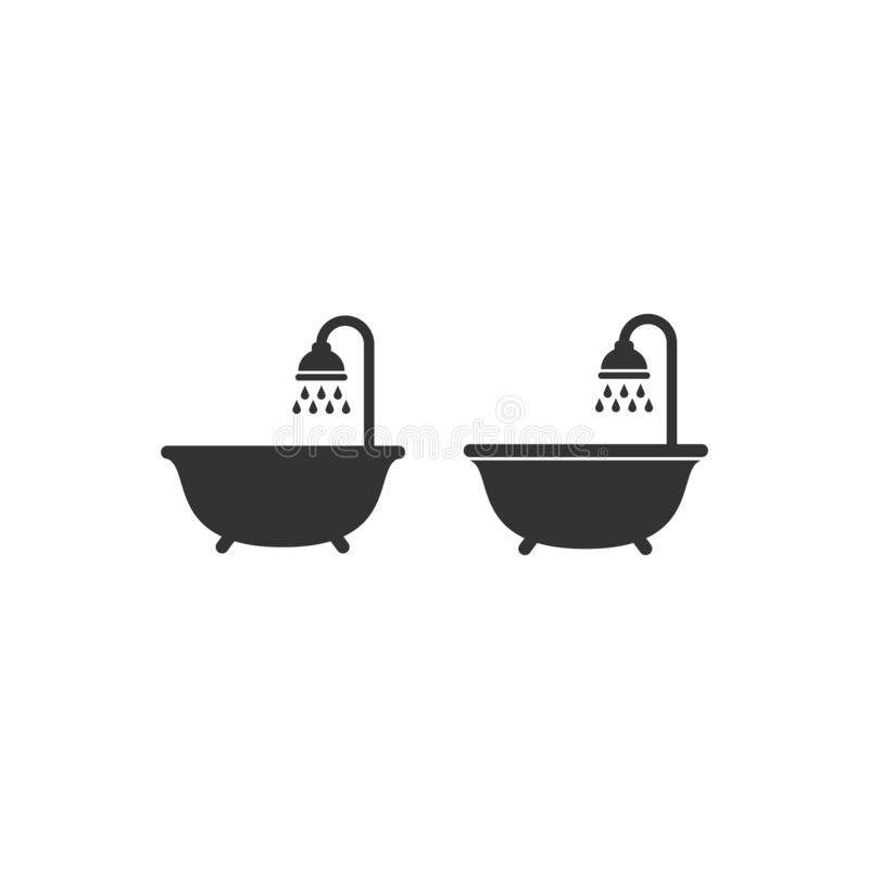 Shower head with water droplets and a bath tub black vector sign set. Washroom, bathroom symbol, glyph isolated icon stock illustration