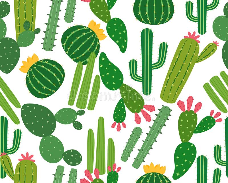 Seamless pattern of many cactus isolated on white background. Vector illustration stock illustration