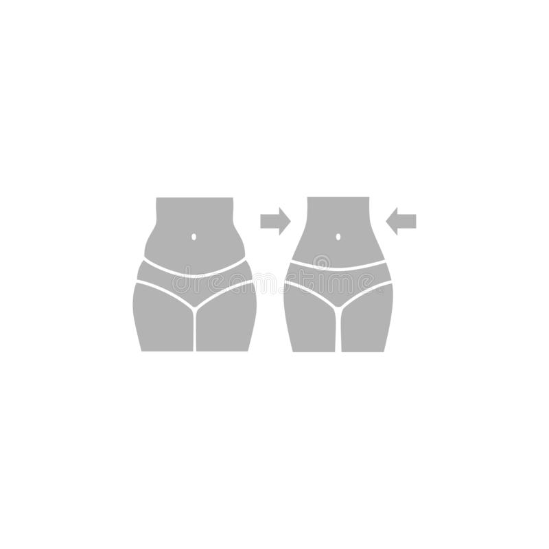 Female body, fat and slim, weight loss concept silhouette. stock illustration