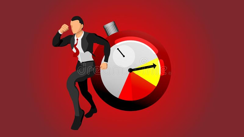 The character of a running businessman is rushed for time. royalty free illustration