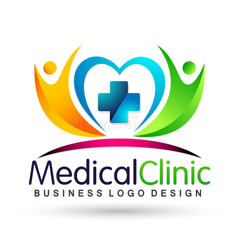 Medical health heart care clinic people healthy life care logo design icon on white background. Globe medical health heart love care  people healthy life care vector illustration