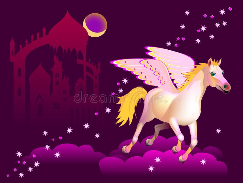Fantasy illustration of Pegasus flying above the clouds in night sky. Cover for fairy-tale book. stock illustration