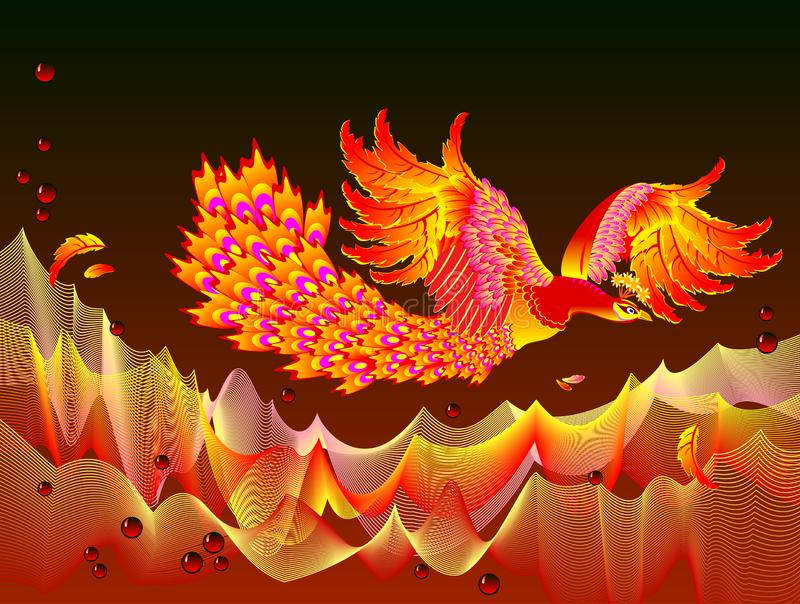 Fantasy illustration of Fire-bird flying between flame waves. Cover for children fairy tale book. vector illustration