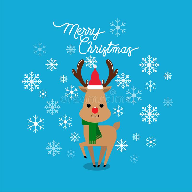 Vector holiday Christmas greeting card with cartoon red nose reindeer, snow flakes royalty free illustration