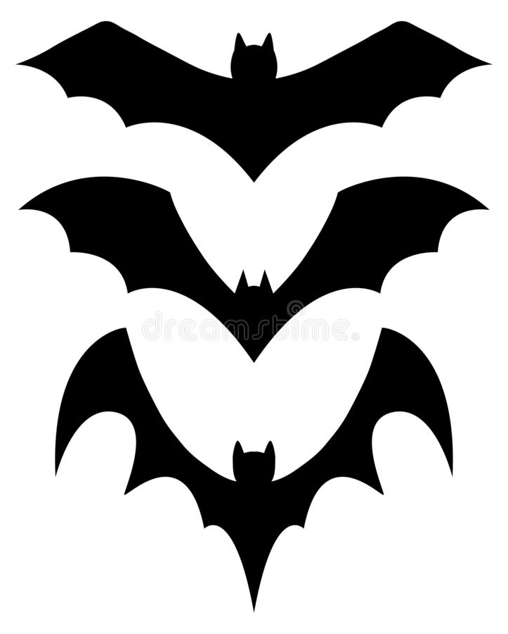 Set of 3 black silhouette bats vector illustration