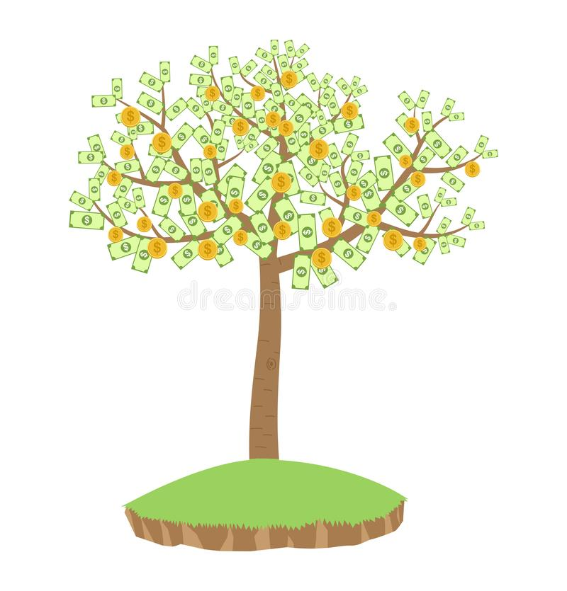 Money tree with dollar banknotes and golden coins isolated on white background vector illustration