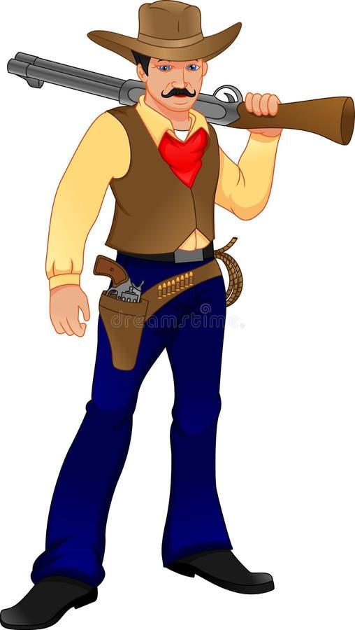Cute cowboy with gun posing. Vector illustration of cute cowboy with gun posing vector illustration